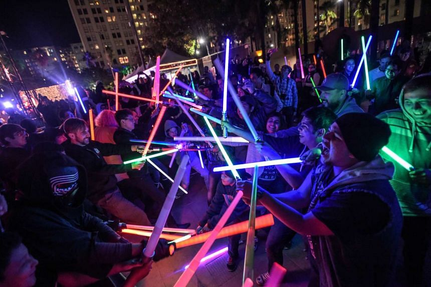 Star Wars fans gathered for a lightsaber battle at Pershing Square in Los Angeles last Friday.