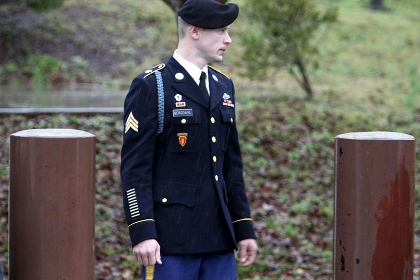 US Army Sergeant Bowe Bergdahl leaves the courthouse after an arraignment hearing for his court-martial in Fort Bragg, North Carolina, on Dec 22, 2015.