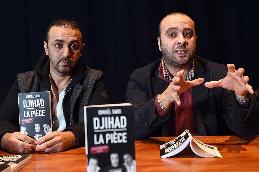 "Belgian film-maker, playwright and stage director Ismael Saidi (left) and actor Reda Chebchoubi (far left) present the book adapted from Saidi's play ""Jihad""."