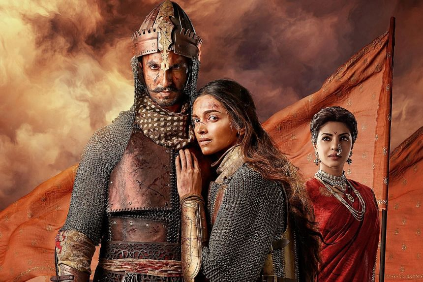 Above: (from left) Ranveer Singh, Deepika Padukone and Priyanka Chopra form a love triangle in Bajirao Mastani. Left: In Dilwale, Kajol and Shah Rukh Khan are from rival gangster families.