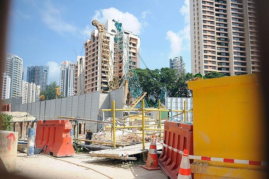 The site at River Valley Green will house Great World MRT station, part of the Thomson- East Coast Line. No stop work order has been issued following the accident last Saturday but workers were told not to use excavators.