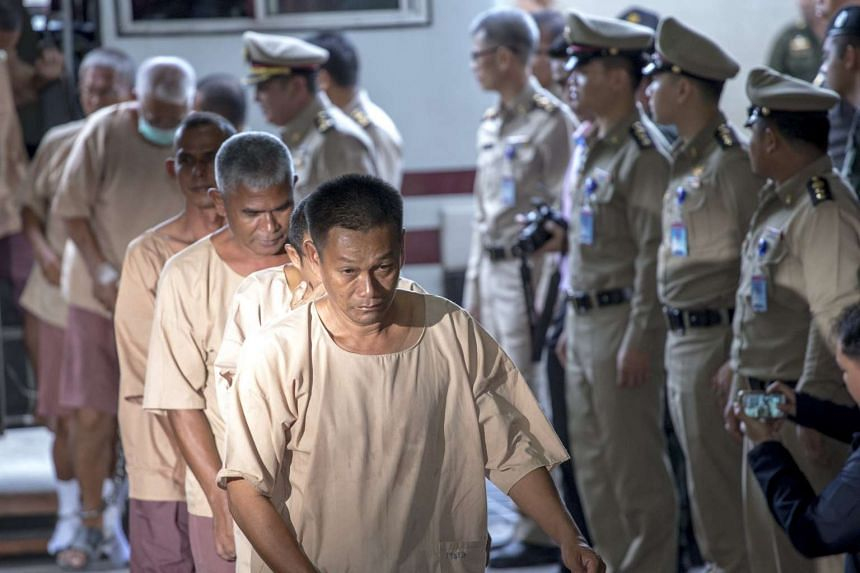 Human trafficking suspects arriving at the criminal court in Bangkok, Thailand, on Nov 10, 2015.