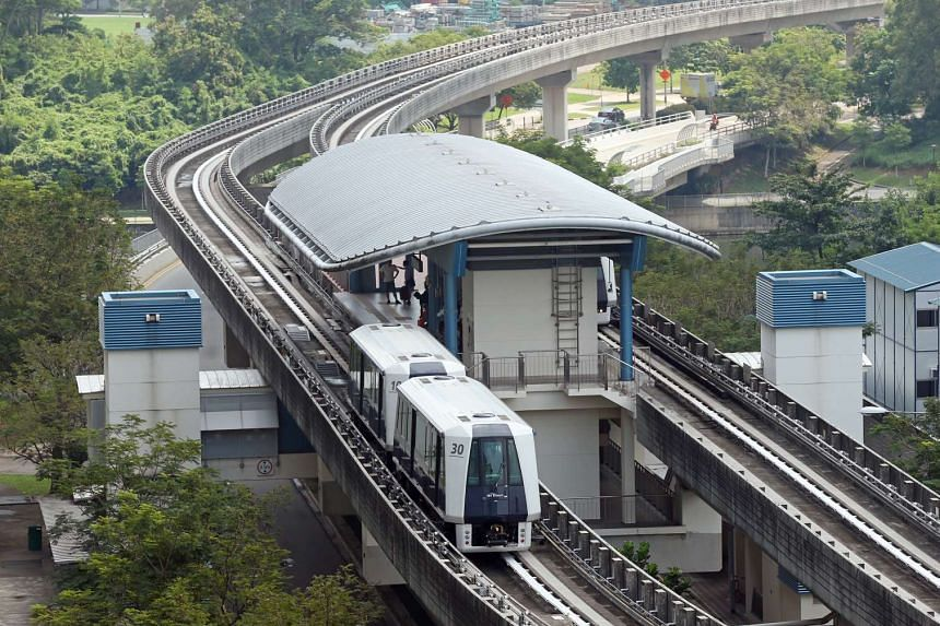 The new two-car LRT trains are being used on the Sengkang-Punggol LRT network, as seen at Layar LRT station on Dec 23, 2015.