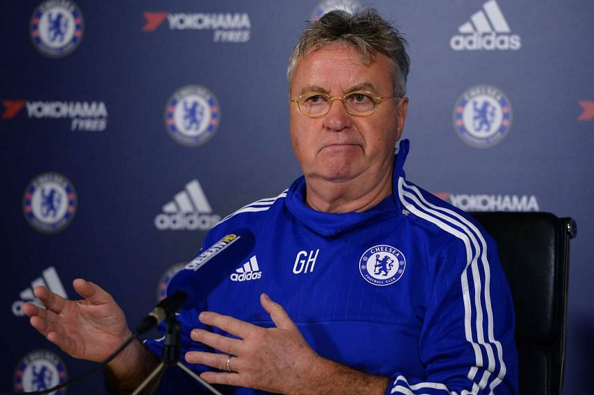 Chelsea's interim manager Guus Hiddink hosts a press conference at the club's training ground in Cobham, south west London, on Dec 23, 2015.