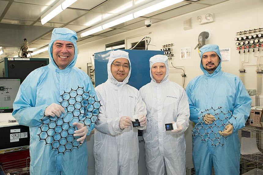 The breakthrough could improve the performance of electrical devices. Among the research team are (from left) Prof Castro Neto, Dr Li Linjun, Dr Eoin O'Farrell and Prof Barbaros Ozyilmaz.