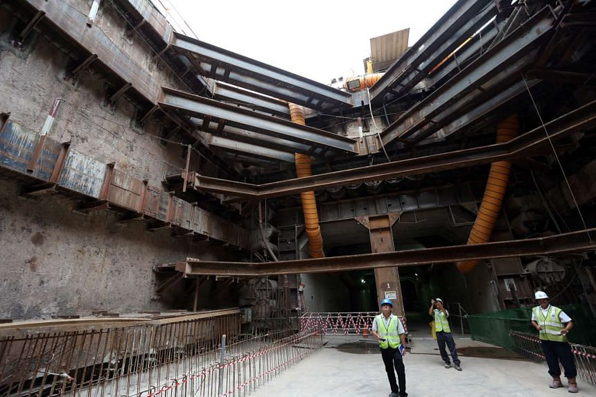 The Sentosa Gateway Tunnel project is taking longer to complete as it is using the piped-box tunnel method, which involves installing interlocking steel pipes (above) that form the perimeter of the box tunnel.