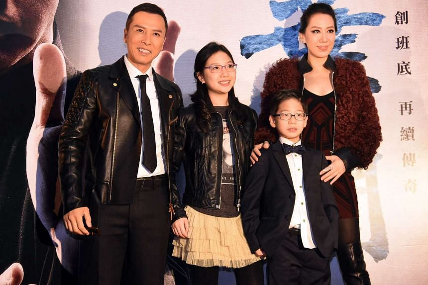 Donnie Yen's son might look bookish, but he may just become a martial arts master like his father. The 52-year-old action star – who attended the premiere of Ip Man 3 in Taipei on Tuesday with his wife Cecilia, 34, daughter Jasmine, 11, and son James, eig