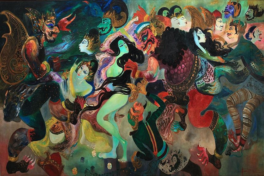 Indonesian artist Hendra Gunawan's Pandawa Dadu - the dice game scene from the Sanskrit epic the Mahabharata - fetched HK$26.48 million, the highest price for a South-east Asian artwork sold at Sotheby's auction in April.