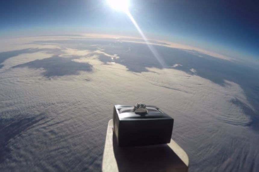 A screenshot from Wright's video of the ring high above the Earth.
