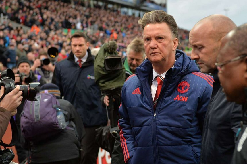 Manchester United's manager Louis van Gaal leaves after the football match between Stoke City and Manchester United on Dec 26, 2015.