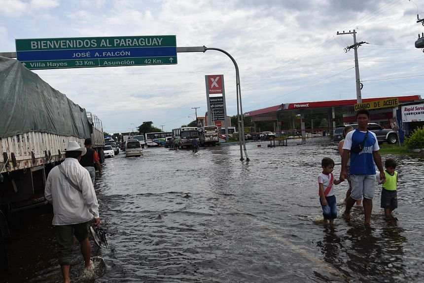 View of the flooded city of Falcon, 42 km west from Asuncion, in the Paraguay-Argentina border.