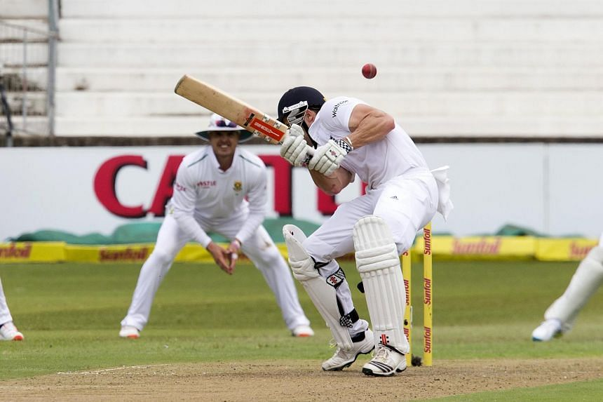 England's Nick Compton ducks under a short ball during the first cricket test match against South Africa in Durban, South Africa, on Dec 26, 2015.