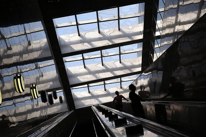 Silhouettes of the members of the public seen against the floral design on the skylight at Botanic Gardens station.