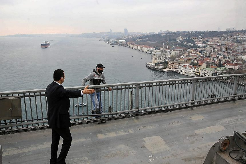 (Clockwise from top left) A presidential bodyguard talking to a man preparing to jump off the Bosphorus Bridge in Istanbul on Friday; bodyguards escorting the dazed man to the President; and Mr Erdogan hearing the sobbing man's woes and making calls