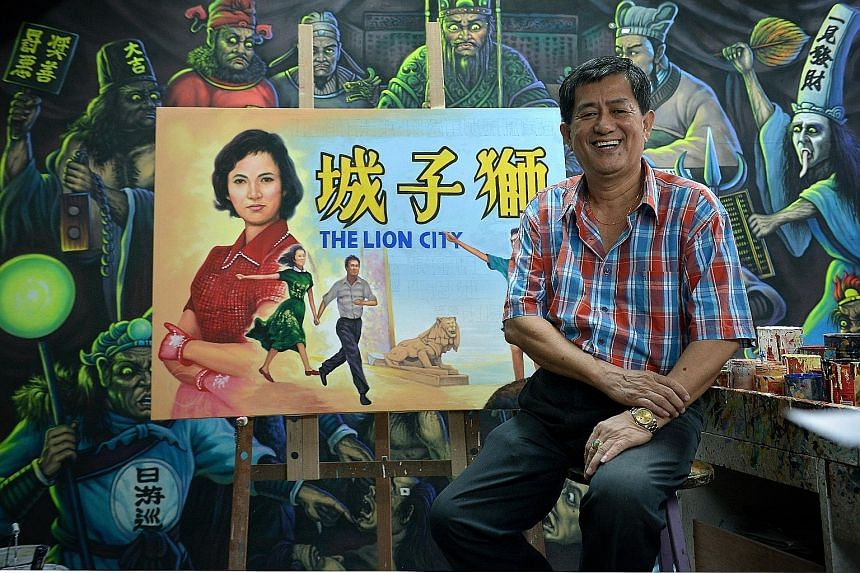 This year, Mr Ang Hao Sai (above) painted posters of 1960s movies that were displayed at Capitol Theatre. (Right) Mr Ang with his sketches in the 1960s.