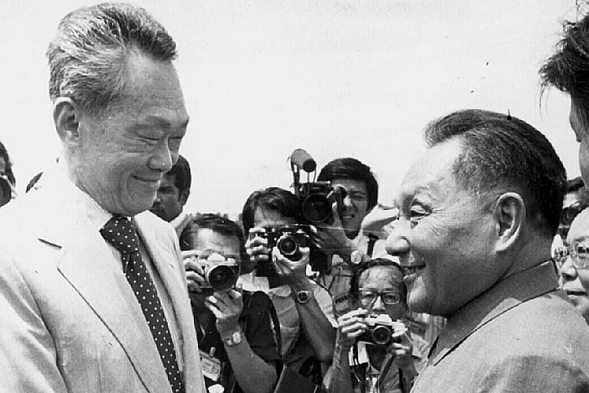 Then Prime Minister Lee Kuan Yew welcoming Deng Xiaoping to Singapore in 1978. Lee would always declare Deng the greatest leader of the many he met in his half-century at the top tier of Singapore's successful government. Under Mahathir Mohamad, Mala