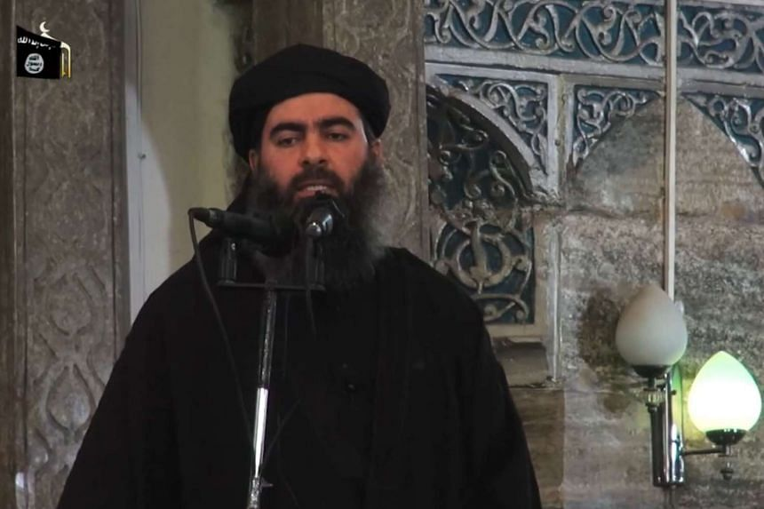 A screenshot from a video purporting to show ISIS leader Abu Bakr al-Baghdadi.