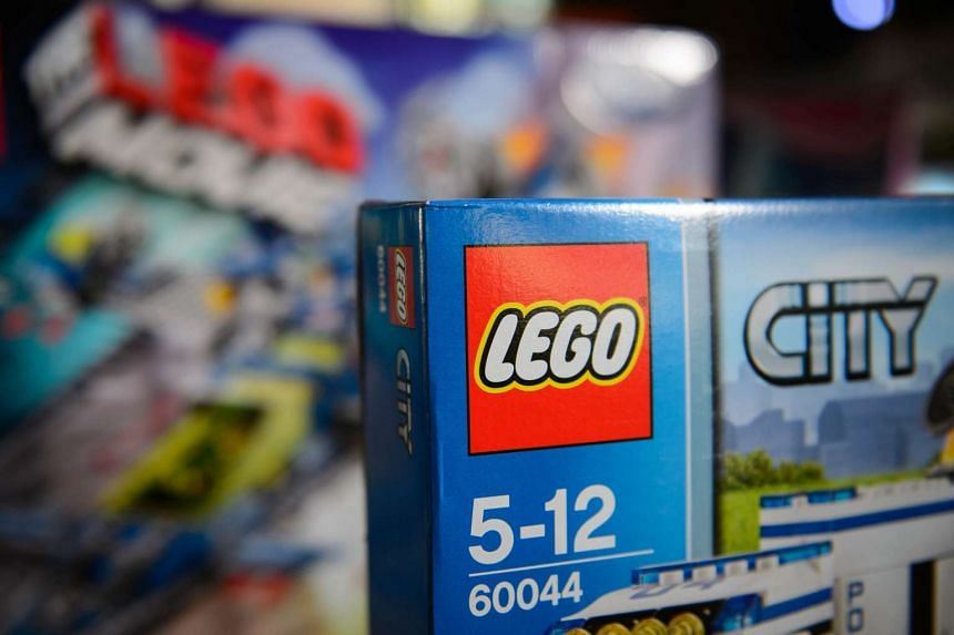 A lego set on sale at a toy fair in central London.