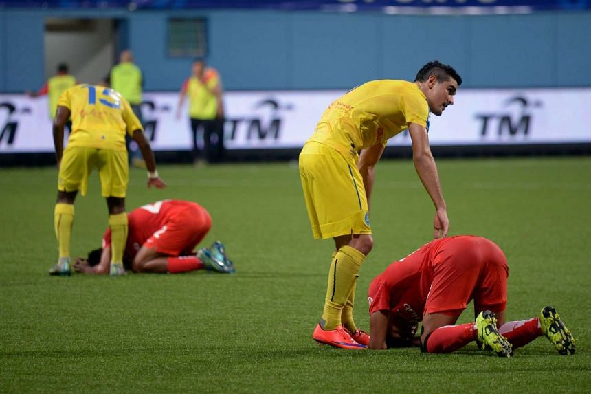 The anguish of the LionsXII is clearly evident after the final whistle of the Malaysia Cup quarter-final second leg against Pahang on Nov 27. Pahang won 4-3 on aggregate.