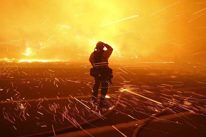 Fire photographer Tod Sudmeier gets hit with flying embers from strong winds at the Solimar brush fire.