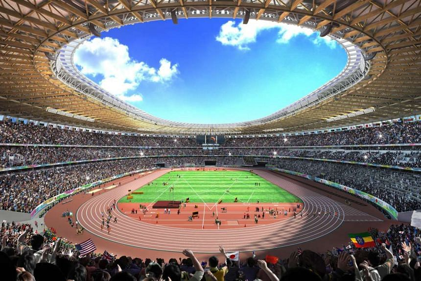 An artistic concept image for  the interior of the main stadium for the 2020 Tokyo Olympics.