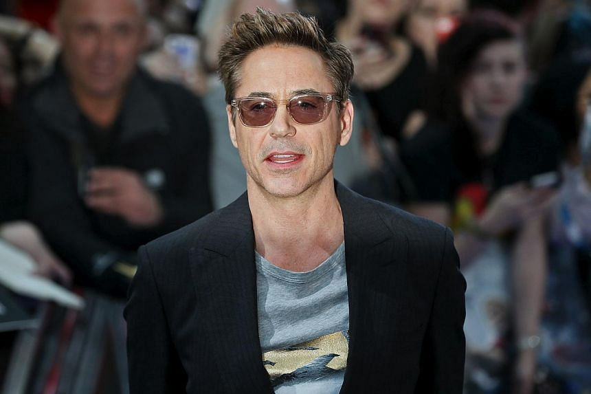 "Cast member Robert Downey Jr. poses at the European premiere of ""Avengers: Age of Ultron"" in London, in this file photo taken Apr 21."