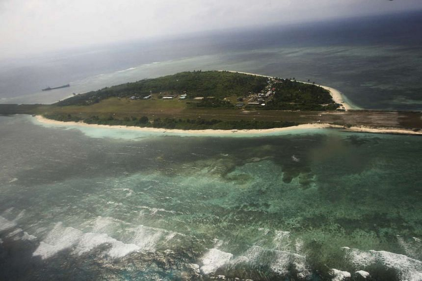 An aerial view of Thitu island, also known as Pagasa island, part of the disputed Spratly chain, in the South China Sea.