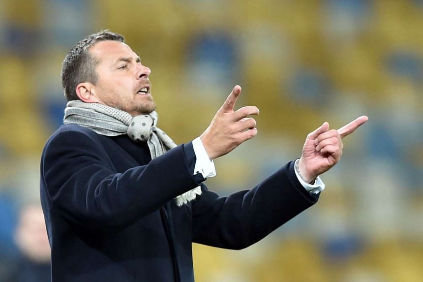 Maccabi's head coach Slavisa Jokanovic reacts during the UEFA Champions League Group G football match between FC Dynamo Kiev and Maccabi Tel-Aviv on Dec 9, 2015 at the Olympic stadium in Kiev.