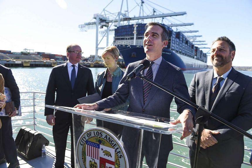 Los Angeles Mayor Eric Garcetti welcomes the CMA CGM Benjamin Franklin, the largest container ship to ever call at a US port on Dec 26.