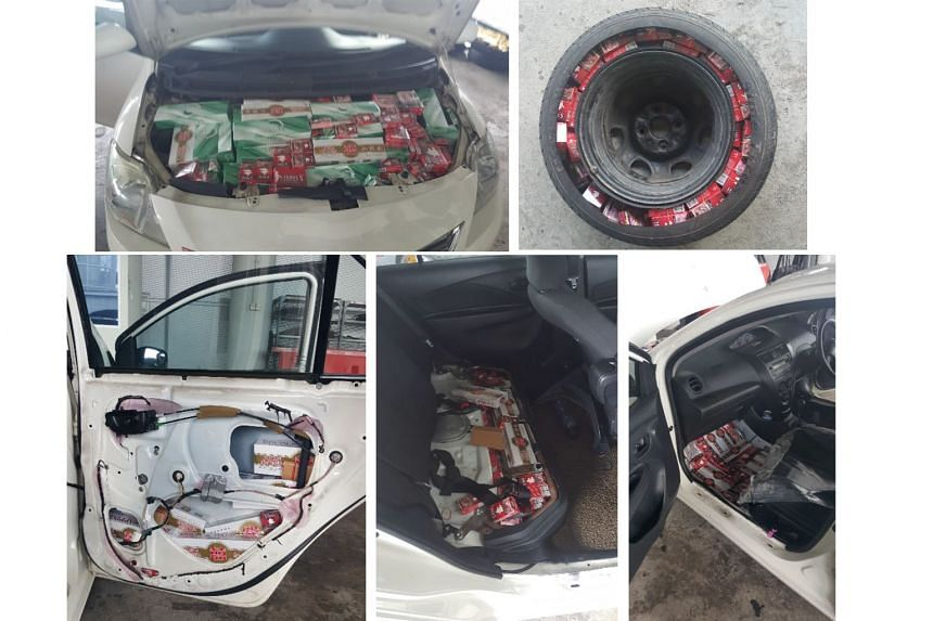 The contraband cigarettes were found stuffed in the bonnet, spare tyre, door panels, rear passenger seat and front floorboard.