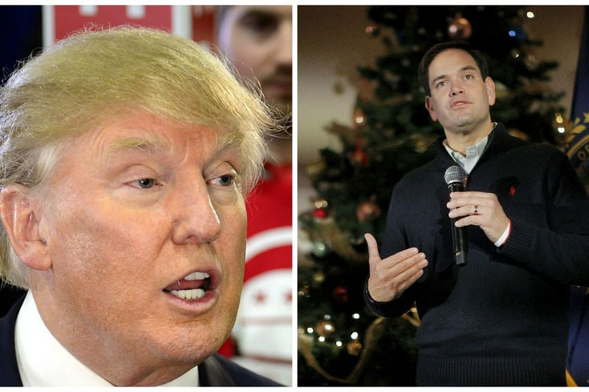 Donald Trump (left) and US Senator Marco Rubio are the top two US Republican Presidential candidates.