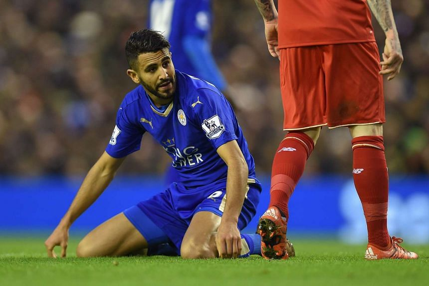 Riyad Mahrez reacts during the English Premier League football match between Liverpool and Leicester City.
