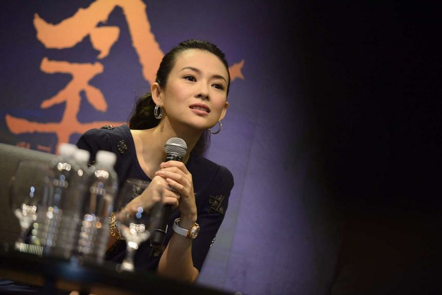 Zhang Ziyi speaking at the press conference for the movie The Crossing, which is being screened as part of the Singapore International Film Festival on Dec 4, 2014.