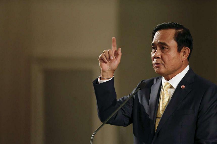 Thailand's Prime Minister Prayuth Chan-ocha addresses the nation on Dec 23, 2015.