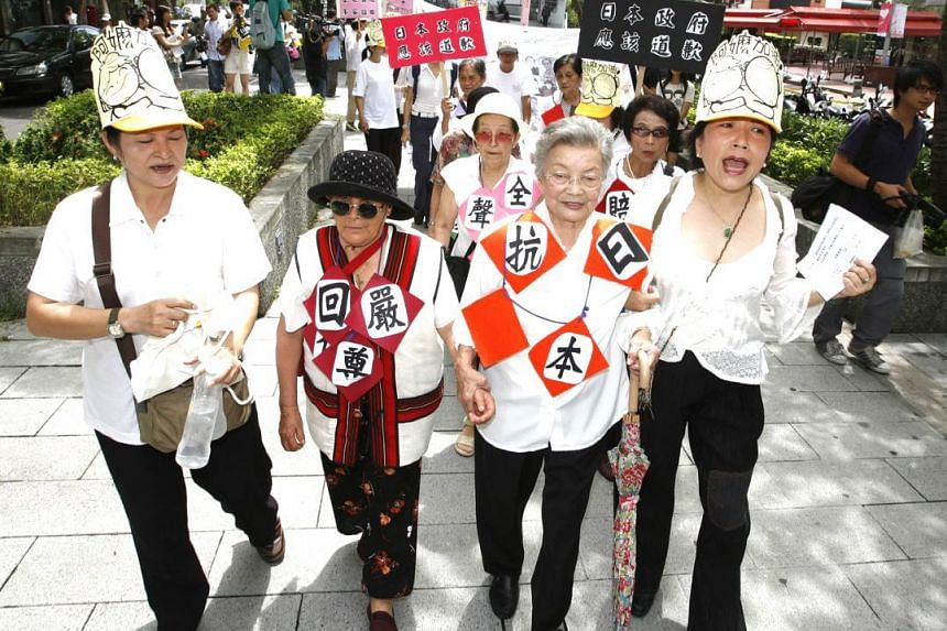 Former Taiwanese comfort women protesting outside Japan's representative office in Taipei, in an undated photo from the Taipei Women's Rescue Foundation.