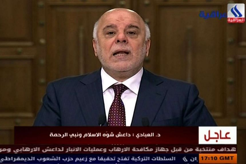 An image grab taken from Iraqiya channel shows Iraqi Prime Minister Haider al-Abadi delivering a televised speech in Baghdad on Dec 28, 2015. Al-Abadi vowed to free the whole country from the Islamic State group in 2016.