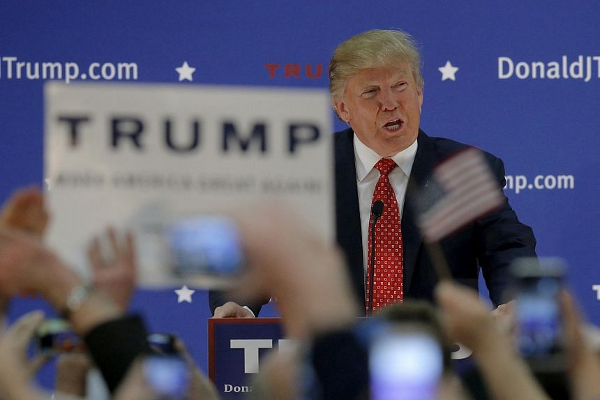 US Republican presidential frontrunner Donald Trump speaking at a campaign rally in Nashua, New Hampshire.