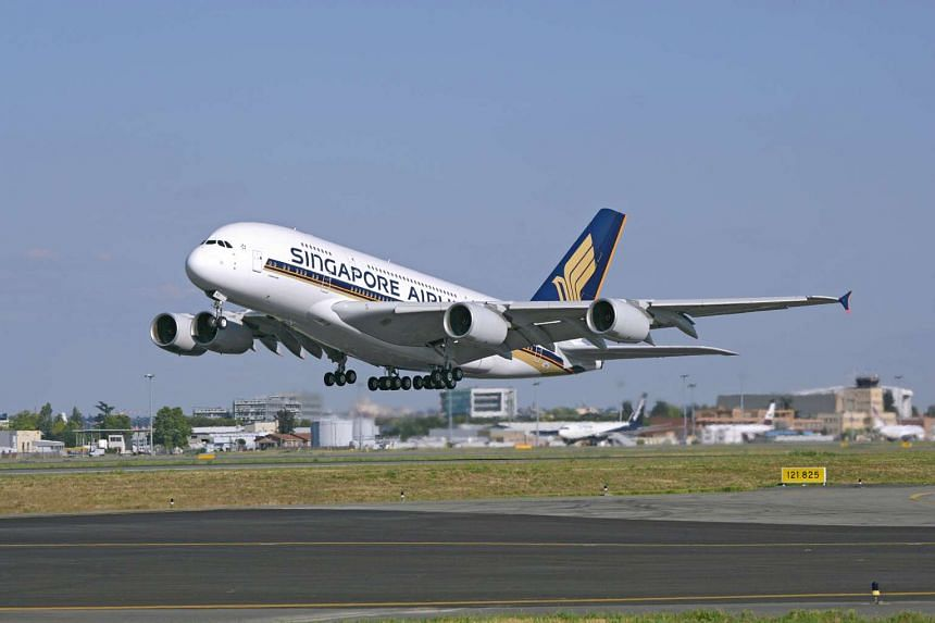 A Singapore Airlines A380 during takeoff.