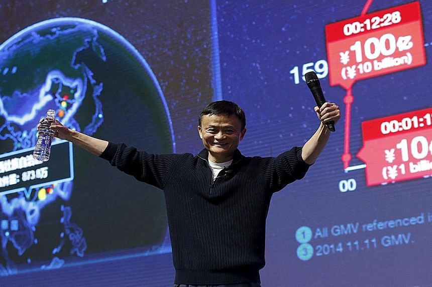 Alibaba founder Jack Ma in Beijing, in front of a screen showing real-time data of transactions at the group's global shopping festival on Nov 11. One trend driving growth in Chinese demand is the powerful role of e-commerce. Chinese customers browsi