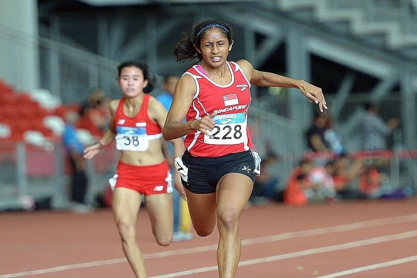 """Shanti Pereira winning the 200m gold medal at the SEA Games in June. """"It would be good to go to Rio to gain exposure but my goal is to qualify for the 2020 Tokyo Olympics,"""" says the Republic Polytechnic student."""