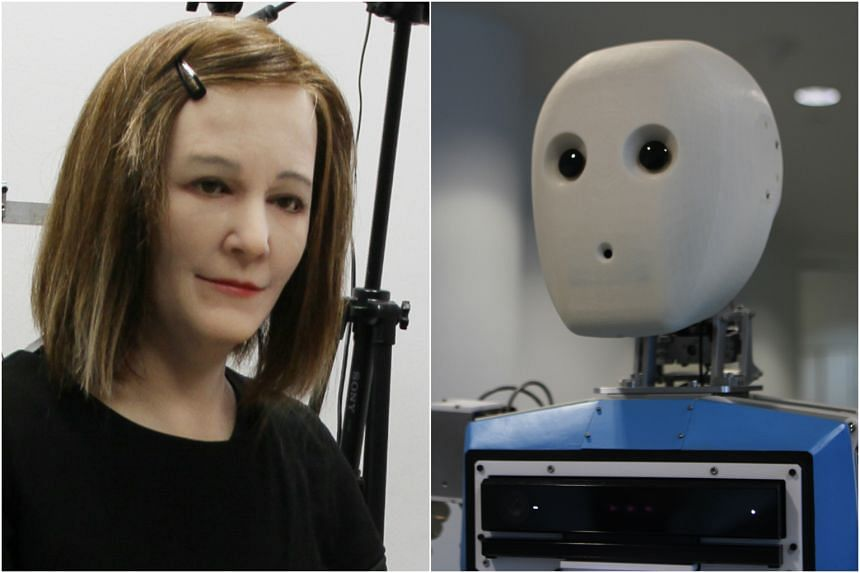 Nadine (left) and Edgar were the two new robots unveiled by NTU.