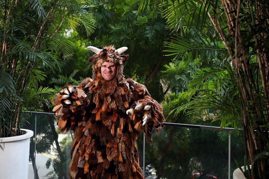 Actor Aaron Millard in his Gruffalo costume.
