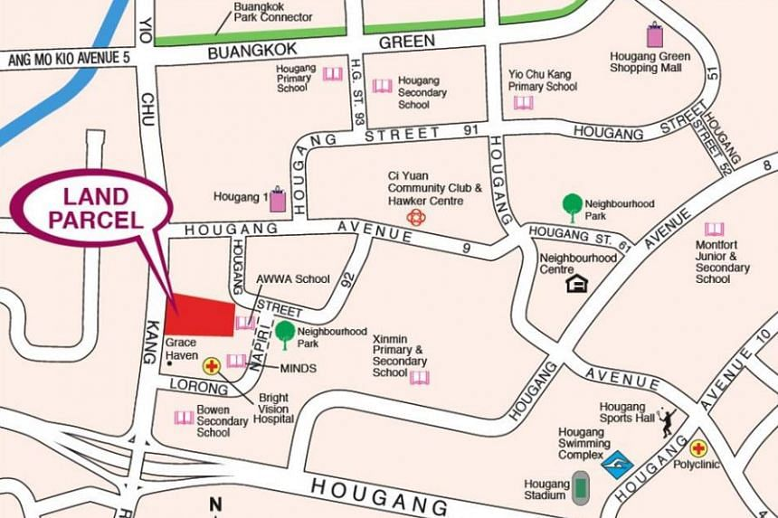 The Yio Chu Kang Road site has an area of 18,422.9 sq m and can yield an estimated 520 housing units.