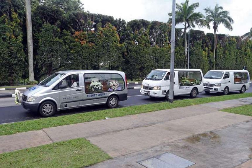 The hearses of (front to back) Mr Barnabas Lim, Ms Kristen Ng, and Rayshon Lim.