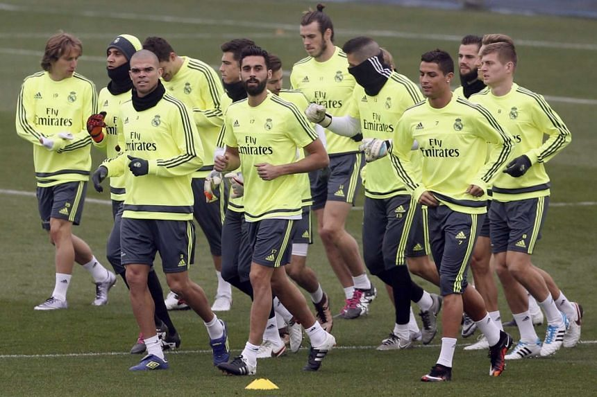 Real Madrid players training at Valdebebas sport city in Madrid, Spain, on Dec 29, 2015, ahead of their clash with Real Sociedad.