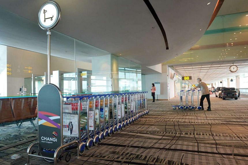 The new automated trolley management system at the Changi Airport Terminal 3.
