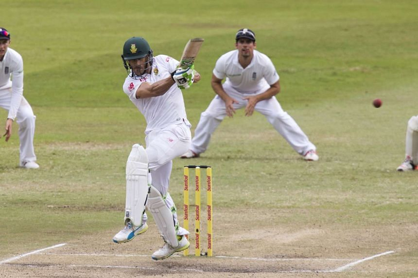 South Africa's Faf du Plessis plays a shot during the first cricket test match against England in Durban, South Africa on Dec 29.