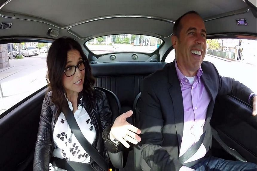 Jerry Seinfeld with guest Julia Louis-Dreyfus (both above) in his Web series, while Amy Schumer's recycled jokes still land punches.