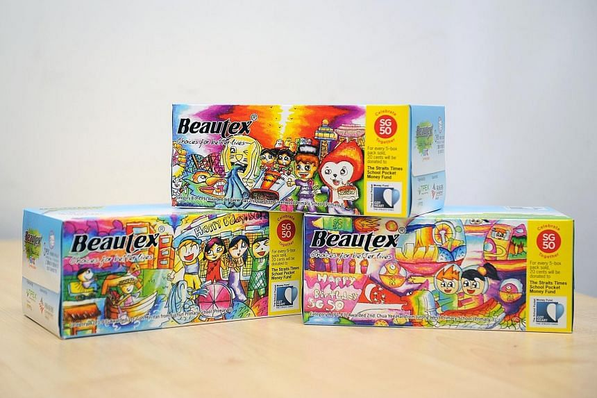 Twenty cents from the sale of each limited-edition Beautex tissue box was donated to The Straits Times School Pocket Money Fund.
