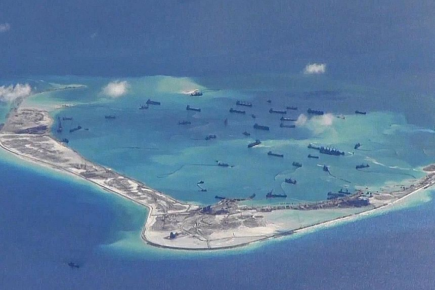 China's ship deployment came as Philippine protesters reached a disputed island in the Spratlys.